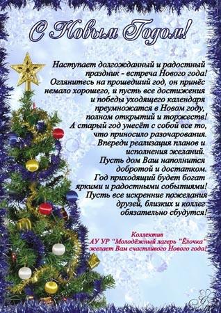 Слово для поздравления предоставляется директору школы на новый год